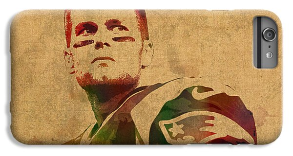 England iPhone 7 Plus Case - Tom Brady New England Patriots Quarterback Watercolor Portrait On Distressed Worn Canvas by Design Turnpike