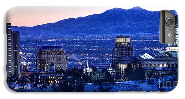 City Sunset iPhone 7 Plus Case - Utah Capitol And Oquirrh Mountains Winter Sunset by Gary Whitton