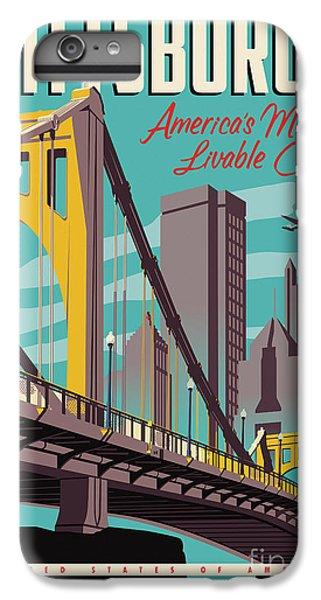 Airplane iPhone 7 Plus Case - Pittsburgh Poster - Vintage Travel Bridges by Jim Zahniser