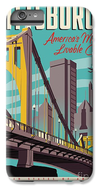Airplane iPhone 7 Plus Case - Vintage Style Pittsburgh Travel Poster by Jim Zahniser
