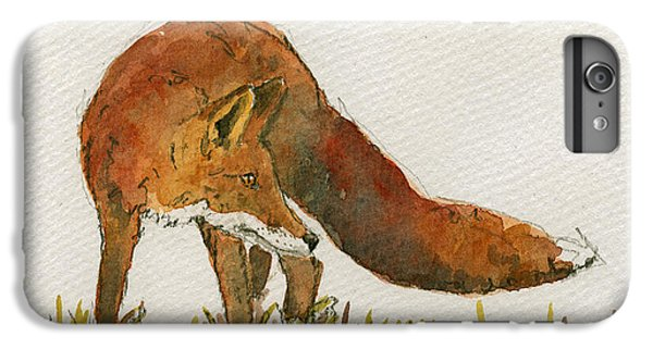 Orange iPhone 7 Plus Case - Watching Red Fox by Juan  Bosco