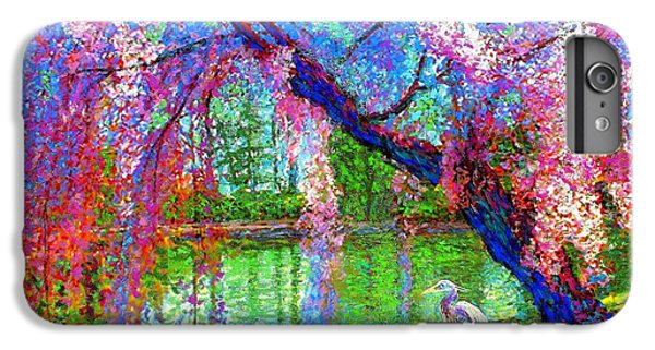 England iPhone 7 Plus Case - Weeping Beauty, Cherry Blossom Tree And Heron by Jane Small