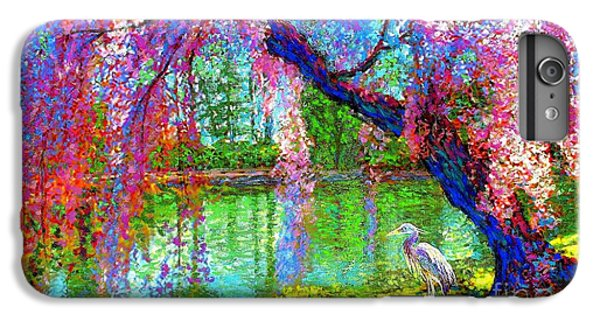 Heron iPhone 7 Plus Case - Weeping Beauty, Cherry Blossom Tree And Heron by Jane Small
