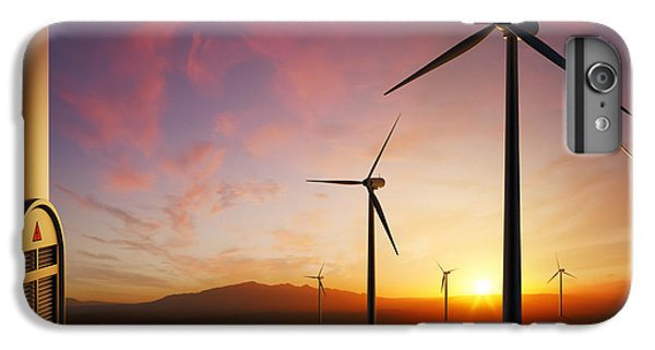 Rural Scenes iPhone 7 Plus Case - Wind Turbines At Sunset by Johan Swanepoel