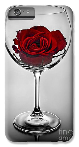Wine iPhone 7 Plus Case - Wine Glass With Rose by Elena Elisseeva