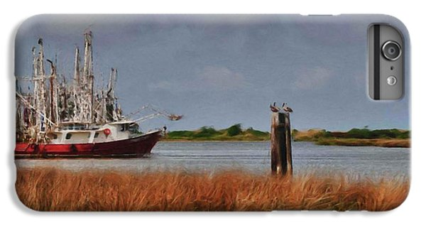 Shrimp Boats iPhone 7 Plus Case - Pelican And The Red Shrimpboat by Michael Thomas