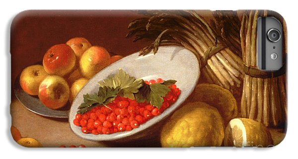 Still Life Of Raspberries Lemons And Asparagus  IPhone 7 Plus Case by Italian School