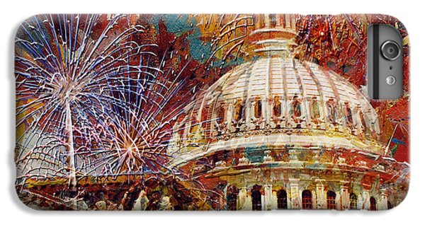 070 United States Capitol Building - Us Independence Day Celebration Fireworks IPhone 7 Plus Case by Maryam Mughal