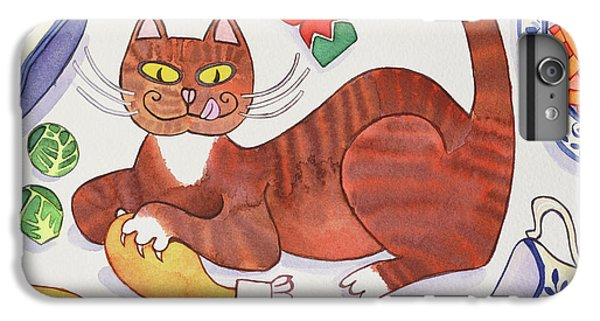 Christmas Cat And The Turkey IPhone 7 Plus Case by Cathy Baxter