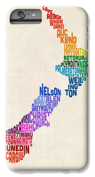 New Zealand Typography Text Map IPhone 7 Plus Case by Michael Tompsett