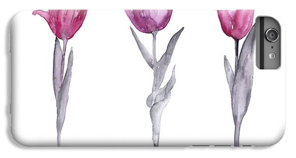 Purple Tulips Watercolor Painting IPhone 7 Plus Case by Joanna Szmerdt