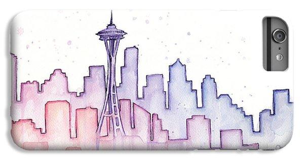 Seattle iPhone 7 Plus Case - Seattle Skyline Watercolor by Olga Shvartsur