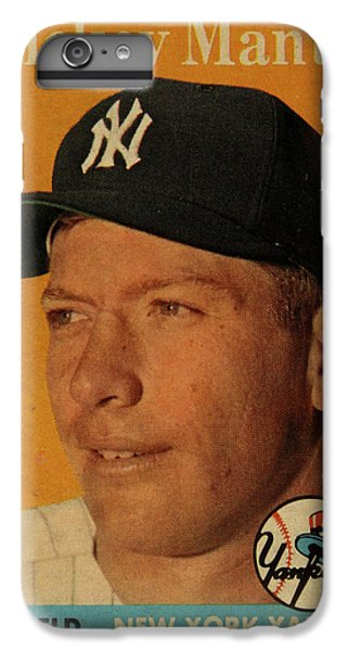 1958 Topps Baseball Mickey Mantle Card Vintage Poster IPhone 7 Plus Case by Design Turnpike
