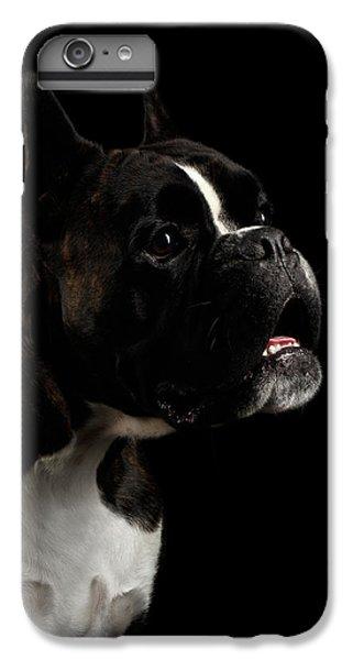 Dog iPhone 7 Plus Case - Purebred Boxer Dog Isolated On Black Background by Sergey Taran