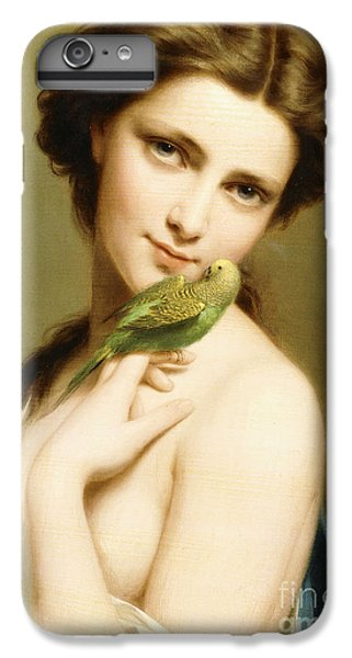 Parakeet iPhone 7 Plus Case - A Young Beauty With A Parakeet by Fritz Zuber-Buhler