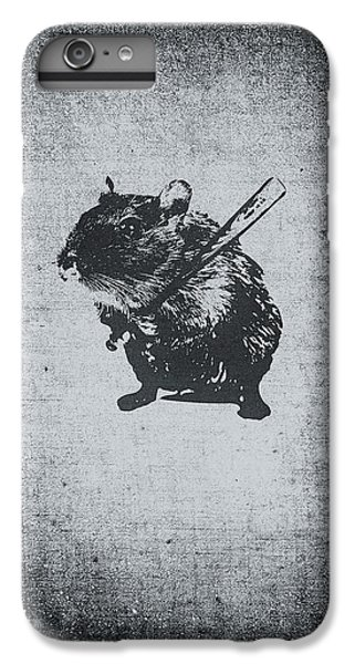 Beaver iPhone 7 Plus Case - Angry Street Art Mouse  Hamster Baseball Edit  by Philipp Rietz
