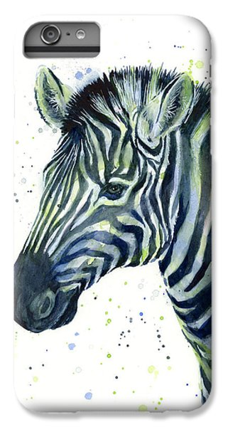 Zebra Watercolor Blue Green  IPhone 7 Plus Case by Olga Shvartsur