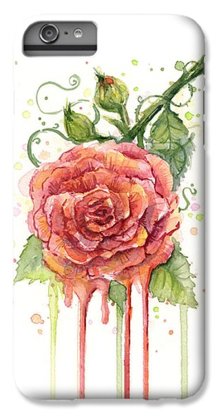 Rose iPhone 7 Plus Case - Red Rose Dripping Watercolor  by Olga Shvartsur