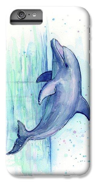 Marine iPhone 7 Plus Case - Dolphin Watercolor by Olga Shvartsur