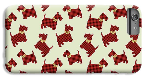 IPhone 7 Plus Case featuring the mixed media Scottie Dog Plaid by Christina Rollo