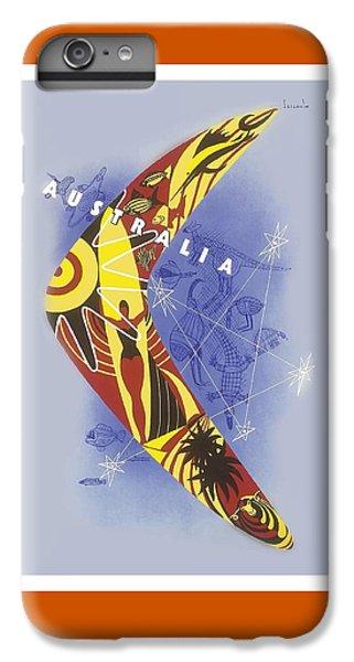 Kangaroo iPhone 7 Plus Case - Australia Boomerang Aboriginal Art National Travel Association Vintage World Travel Poster by Retro Graphics