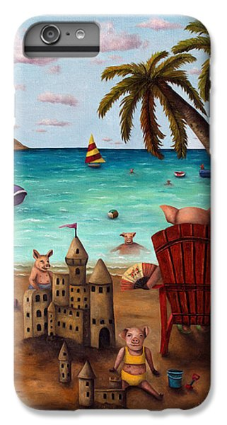 Jet Ski iPhone 7 Plus Case - Bacon Shortage With Lettering by Leah Saulnier The Painting Maniac