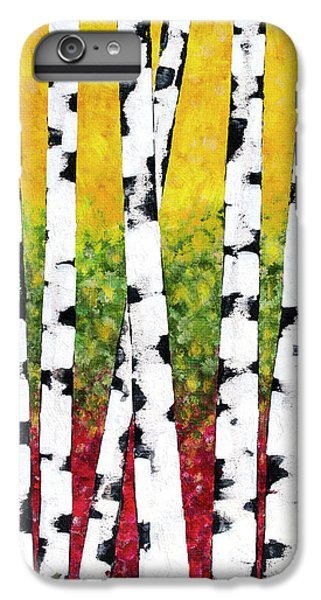IPhone 7 Plus Case featuring the mixed media Birch Forest Trees by Christina Rollo