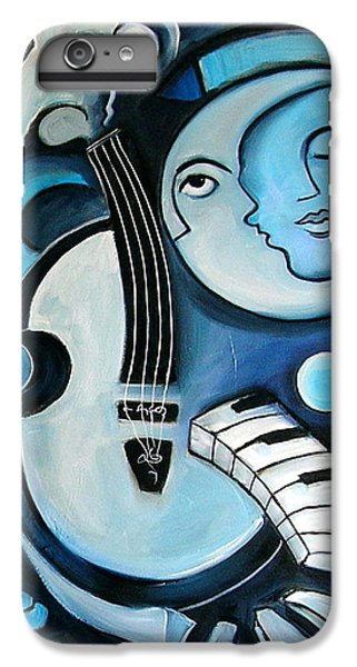 Moon iPhone 7 Plus Case - Black And Bleu by Valerie Vescovi