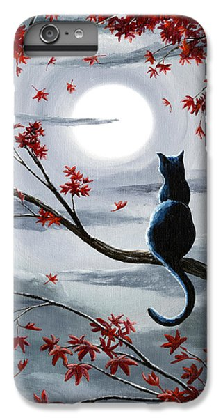 Moon iPhone 7 Plus Case - Black Cat In Silvery Moonlight by Laura Iverson
