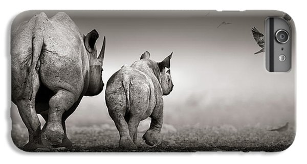 Cow iPhone 7 Plus Case - Black Rhino Cow With Calf  by Johan Swanepoel
