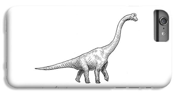 Brachiosaurus Black And White Dinosaur Drawing  IPhone 7 Plus Case by Karen Whitworth