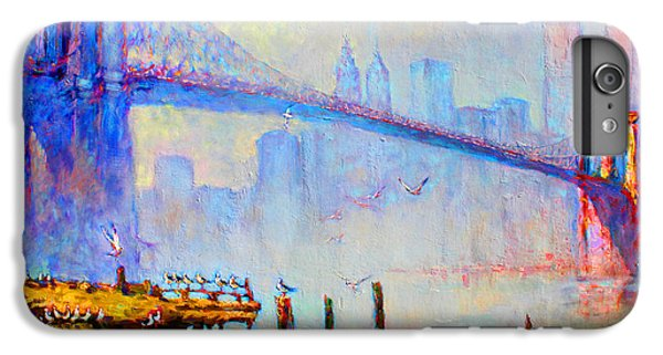 Seagull iPhone 7 Plus Case - Brooklyn Bridge In A Foggy Morning by Ylli Haruni