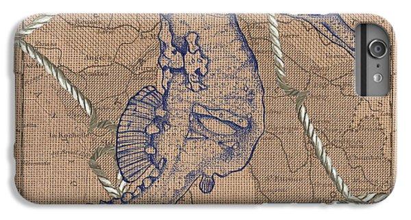 Seahorse iPhone 7 Plus Case - Burlap Seahorse by Debbie DeWitt