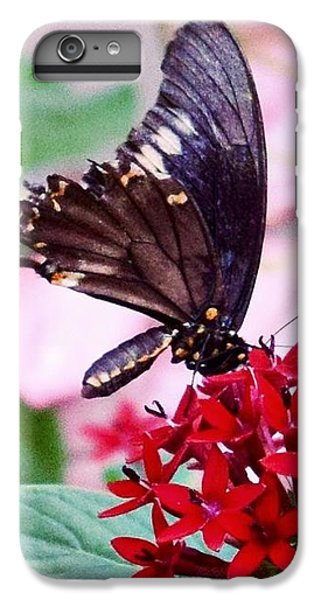 Black Butterfly On Red Flower IPhone 7 Plus Case by Sandy Taylor