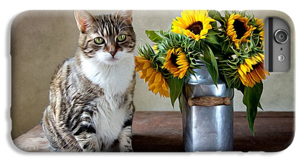 Flowers iPhone 7 Plus Case - Cat And Sunflowers by Nailia Schwarz