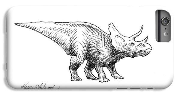 Dinosaur iPhone 7 Plus Case - Cera The Triceratops - Dinosaur Ink Drawing by Karen Whitworth