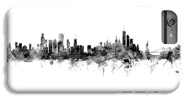 University Of Illinois iPhone 7 Plus Case - Chicago And New York City Skylines Mashup by Michael Tompsett