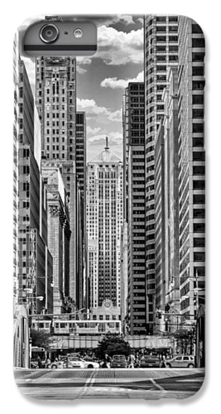 IPhone 7 Plus Case featuring the photograph Chicago Lasalle Street Black And White by Christopher Arndt