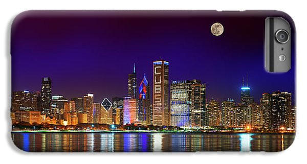 Chicago Cubs iPhone 7 Plus Case - Chicago Skyline With Cubs World Series Lights Night, Moonrise, Lake Michigan, Chicago, Illinois by Panoramic Images