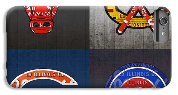 Chicago Sports Fan Recycled Vintage Illinois License Plate Art Bulls Blackhawks Bears And Cubs IPhone 7 Plus Case by Design Turnpike