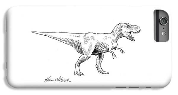 Tyrannosaurus Rex Dinosaur T-rex Ink Drawing Illustration IPhone 7 Plus Case by Karen Whitworth