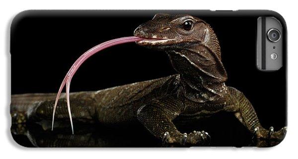 Close-up Varanus Rudicollis Isolated On Black Background IPhone 7 Plus Case by Sergey Taran