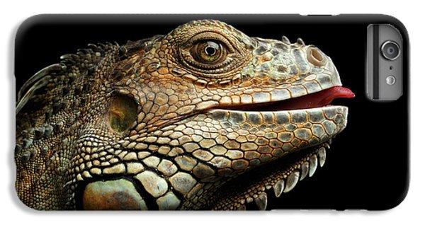 Close-upgreen Iguana Isolated On Black Background IPhone 7 Plus Case by Sergey Taran