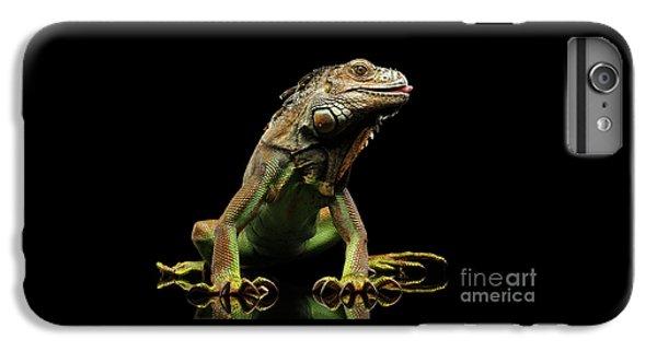 Closeup Green Iguana Isolated On Black Background IPhone 7 Plus Case by Sergey Taran