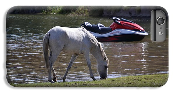 Jet Ski iPhone 7 Plus Case - Coexistence Salt River Wild Horses Tonto National Forest Number Two Jet Ski by Heather Kirk
