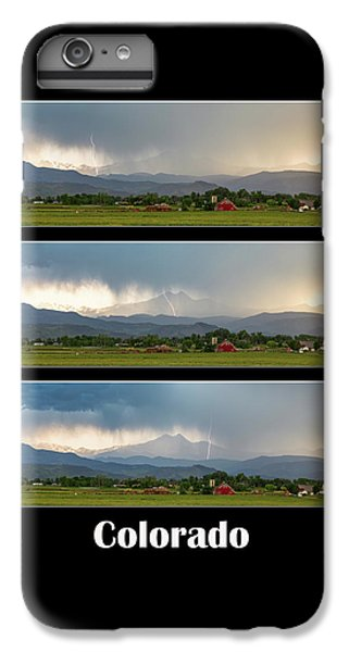 IPhone 7 Plus Case featuring the photograph Colorado Front Range Longs Peak Lightning And Rain Poster by James BO Insogna