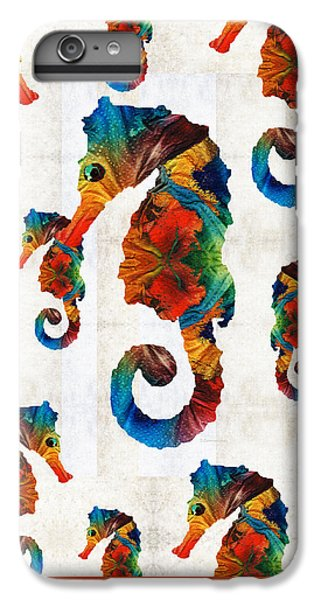 Colorful Seahorse Collage Art By Sharon Cummings IPhone 7 Plus Case by Sharon Cummings