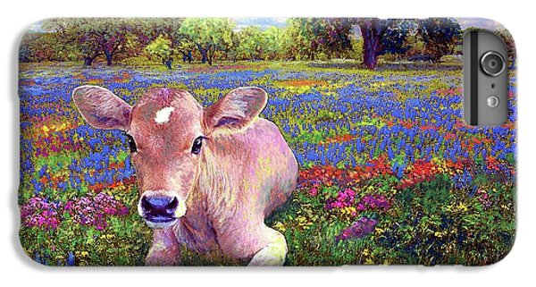 England iPhone 7 Plus Case - Contented Cow In Colorful Meadow by Jane Small