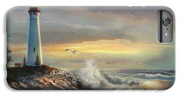 Lake Superior iPhone 7 Plus Case - Crisp Point Lighthouse At Sunset  by Regina Femrite
