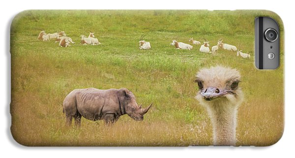 Ostrich iPhone 7 Plus Case - Curious Ostrich And White Rhino by Tom Mc Nemar